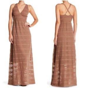 New Letarte Crochet Lace Crossover Bronze Dress XS